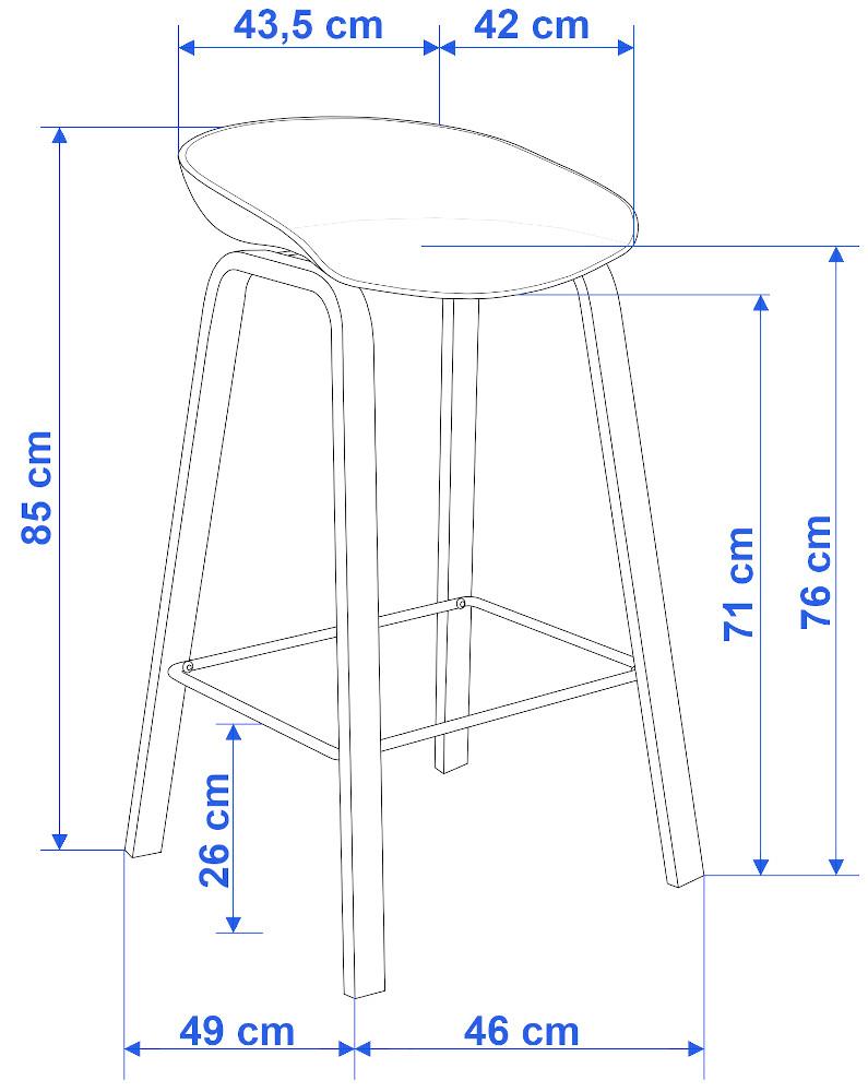 Hoker krzesło barowe PORTI